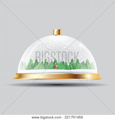 Glass Dome with Snow, Santa and Trees on Transparent Background.