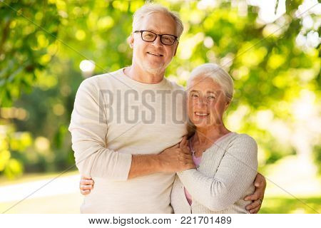 old age, love and people concept - happy senior couple hugging at summer park