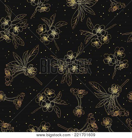 Seamless floral background. Cherry blossoms. Blooming cherry. golden  cherry blossom flowers collection on dark background, great decoration elements for holidays designs.Vector Illustration .Eps 10.