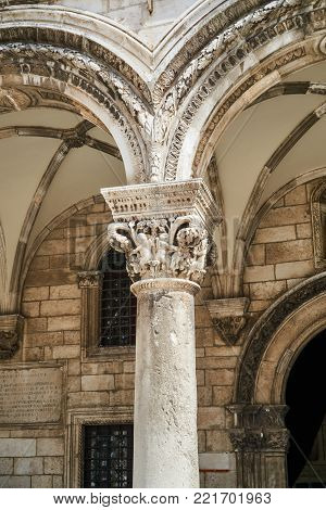column head of the rectors' palace in the city of Dubrovnik, Croatia