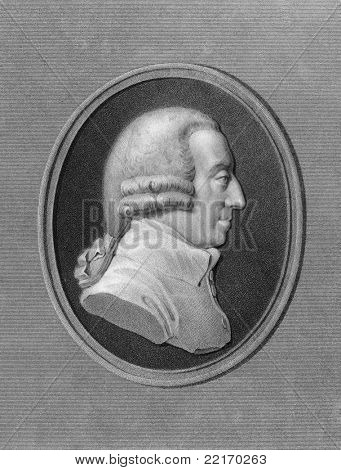 Adam Smith (1723-1790). Engraved by W.Holl and published in The Gallery of Portraits with Memoirs encyclopedia, United Kingdom, 1837.