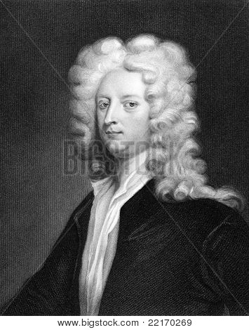 Joseph Addison (1672-1719). Engraved by J.Thomson and published in The Gallery Of Portraits With Memoirs encyclopedia, United Kingdom, 1833. poster