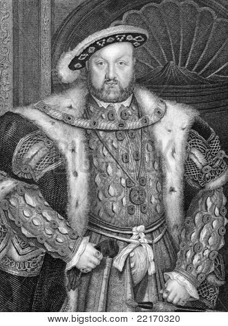 Henry VIII (1491-1547). Engraved by W.T.Fry and published in Lodge's British Portraits encyclopedia, United Kingdom, 1823.