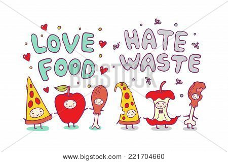 Love Food and Hate Waste ecological illustration with funny characters.