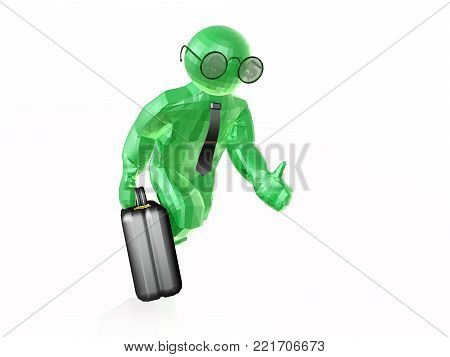 Man with dollar signs on white background, 3D illustration.