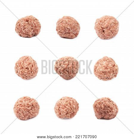 Ball of ground minced beef meat isolated over the white background, set of nine different foreshortenings