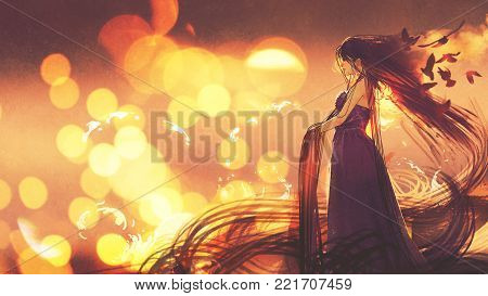 beautiful woman in purple dress with long hair standing against sunset background, digital art style, illustration painting