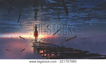 surreal scenery of upside down world with a man on the old bridge looking at sunset light in the lake above the sky, digital art style, illustration painting