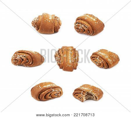 Cinnamon roll pastry bun isolated over the white background, set of seven different foreshortenings