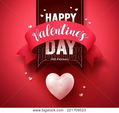 Happy valentines day greeting card vector design or banner with ribbon and hearts elements in a red background for valentines day season. Vector illustration.