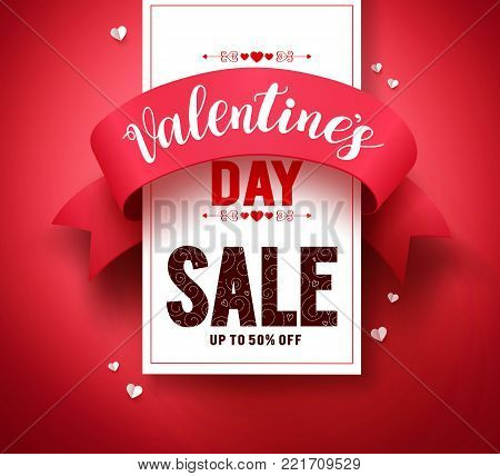 Valentines day sale text vector banner design with ribbon and hearts elements in red background for valentines day holiday discount promotion. Vector illustration.