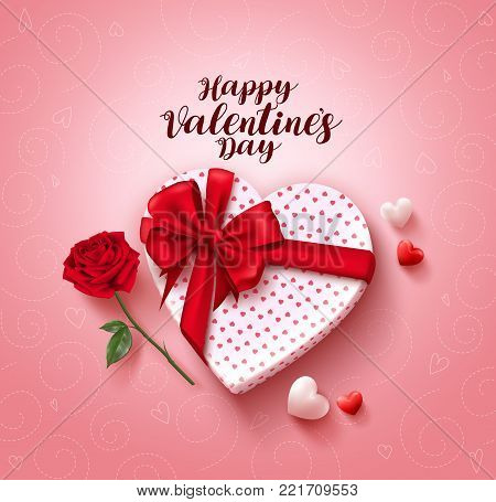 Happy valentines day greeting card vector design with love gift, lasso, rose flower and hearts in pink pattern background for valentines day celebration. Vector illustration.