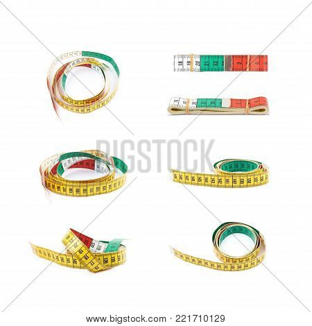 Dieting tape measure isolated over the white background, set of seven different foreshortenings