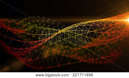 Colorful fantasy abstract technology, engineering and science background with plexus structure wave and a light. Depth of field settings. 3d rendering.