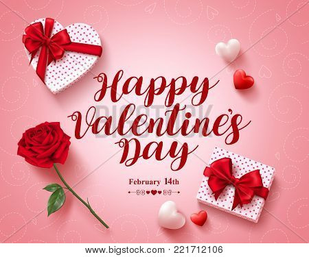 Happy valentines day text greeting card vector design with love gifts, rose and hearts elements in pink pattern background for valentines day. Vector illustration.