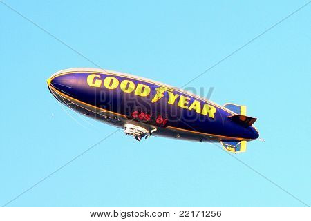 LOS ANGELES - JUL 28:  Goodyear Blimp flying over the