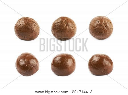 Cookie dough ball isolated over the white background, set of six different foreshortenings