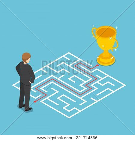 Flat 3d isometric businessman looking at maze with solution. Business solution concept.