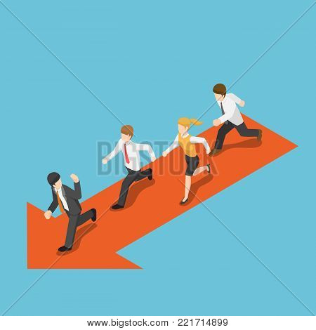 Flat 3d isometric businessman run following leader. Business leadership concept.