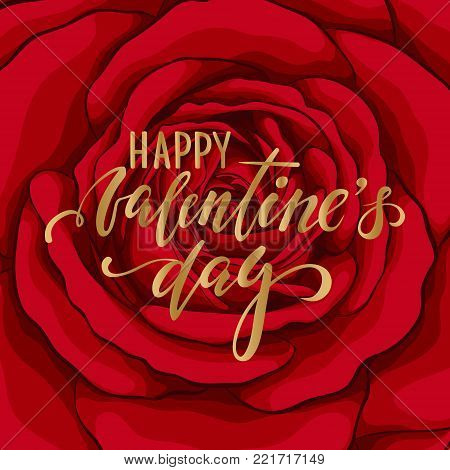 happy Valentine's day. Hand drawn brush pen lettering on background flower red rose. design holiday greeting card and invitation of wedding, Happy mother day, birthday, Valentine's day and holiday