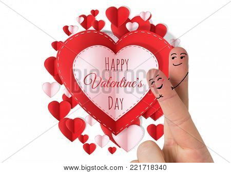 Digital composite of Valentine's fingers love couple and Happy Valentine's Day text and Paper Valentines hearts in circle