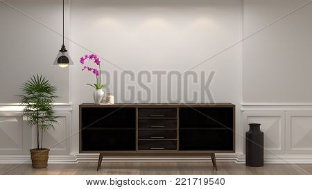 wooden cabinet with lamp in front of empty white wall decorative items minimal style in empty room vintage style,3D illustration luxury living room modern mid century room interior home design