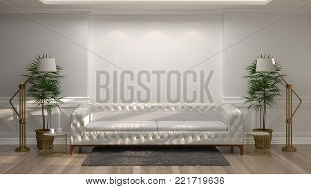 white sofa in front of empty white wall decorative items vintage style and minimal style in empty room,3d rendering luxury living room modern mid century room interior home design