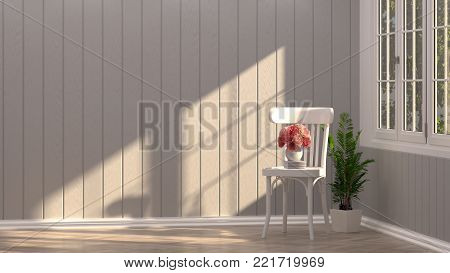wooden white chair with table in the empty room in front of empty wall decorative items minimal style in empty room vintage style,3D rendering luxury living room modern mid century room interior home design