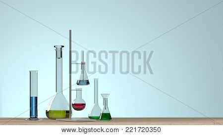 Horizontal template for a poster laboratory equipment without people science laboratory research and development concept blue background laboratory development research Clean modern white laboratory 3D illustration