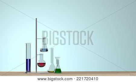 3D illustration Clean modern white laboratory Horizontal template for a poster laboratory equipment without people science laboratory research and development concept blue background laboratory development research