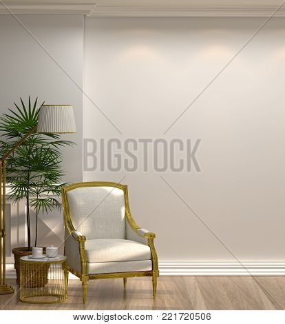 white armchairs and lamp in front of a white wall minimal style in empty room vintage style,3D illustration luxury living room modern mid century room interior home design vertical photo