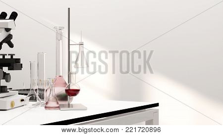 3D illustration laboratory development research Clean modern white laboratory Horizontal template for a poster laboratory equipment without people science laboratory research and development concept
