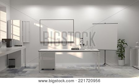 3D illustration laboratory science laboratory research and development Clean modern white laboratory Horizontal template for a poster