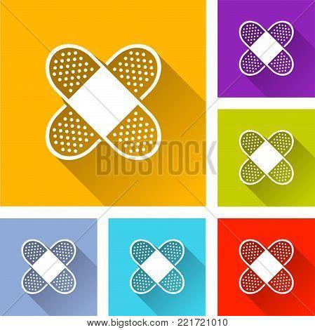Illustration of six medical bandage icons concept