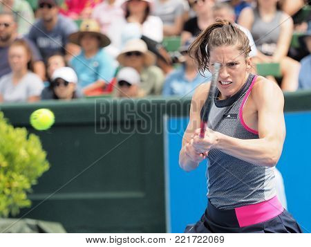 Melbourne, Australia - January 9, 2018: Tennis player Andrea Petkovic preparing for the Australian Open at the Kooyong Classic Exhibition tournament