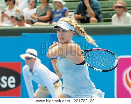 Melbourne, Australia - January 11, 2018: Tennis player Eugenie Bouchard preparing for the Australian Open at the Kooyong Classic Exhibition tournament