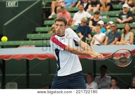 Melbourne, Australia - January 12, 2018: Tennis player Pablo Carreno Busta preparing for the Australian Open at the Kooyong Classic Exhibition tournament
