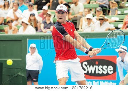 Melbourne, Australia - January 12, 2018: Tennis player Matthew Ebden  preparing for the Australian Open at the Kooyong Classic Exhibition tournament