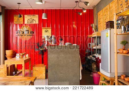 KO-KRED ISLAND, NONTHABURI, THAILAND : Photograph of the local DIY coffee shop shot on September 2, 2017