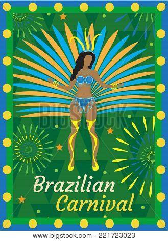 Brazilian carnival Rio de Janeiro poster, invitation. Brazil samba dancers, women dance in costumes with feathers. Template for your design. Vector illustration