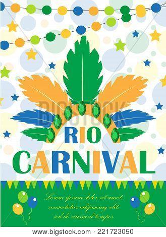 Rio carnival poster, invitation, flyer. Template for your design. Brazilian Festival, Masquerade background. Brazil party concept. Vector illustration