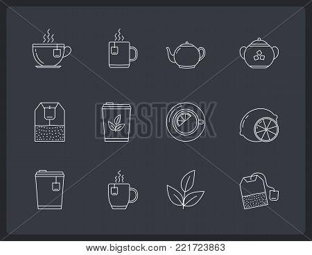 12 Tea line icons on dark background - tea bags, tea cups and mugs, leaves, lemon, sugar, teapot, vector eps10 illustration