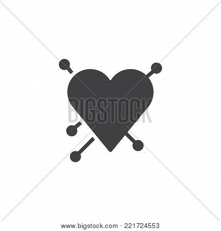 Heart with straight pin icon vector, filled flat sign, solid pictogram isolated on white. Love symbol, logo illustration.