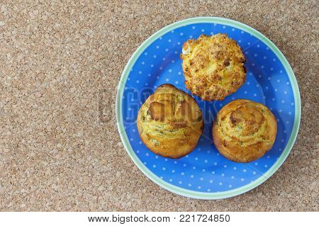Balkan cuisine . Proja - bread from corn - on blue plate. Free space for text