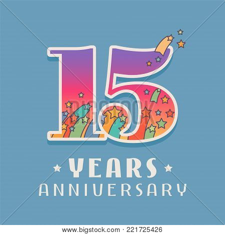 15 years anniversary celebration vector icon, logo. Template design element with bright colored number for 15th anniversary greeting card