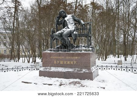 SAINT PETERSBURG, RUSSIA - DECEMBER 18, 2017: Monument to A.S. Pushkin on a cloudy December day. Tsarskoe Selo