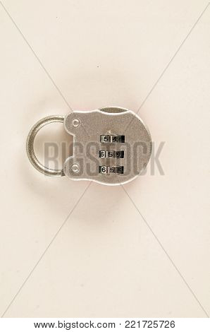 Close-up of combination lock Object on a White Background