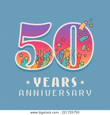 50 years anniversary celebration vector icon, logo. Template design element with bright colored number for 50th anniversary greeting card