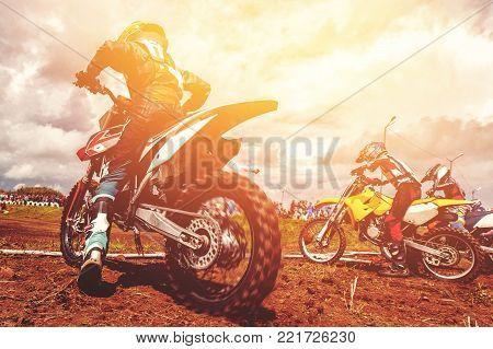 Dirtbike. Dirt bike bikers is start motocross wheel