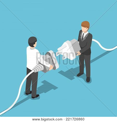 Flat 3d isometric two businessmen connecting plug together. Business connection concept.